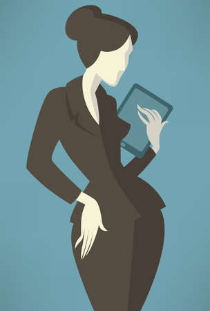 business woman tablet: vector businesswoman