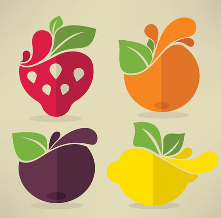 collection of fruits and berries, stickers and emblems in flat style Vector