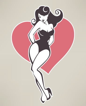 pinup girl and heart Vector