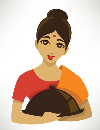 india food: cartoon girl in a traditional cloth serve a food