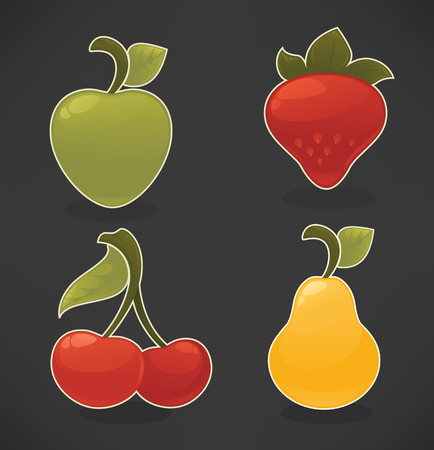 yellow apple: vector collection of stickers and emblems