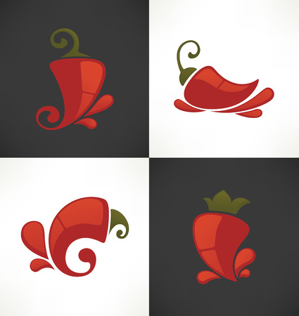 chili sauce: vector icons and emblems