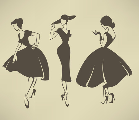 vector collection of girls in retro style