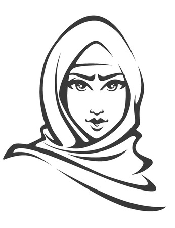 muslim fashion: vector woman portrait