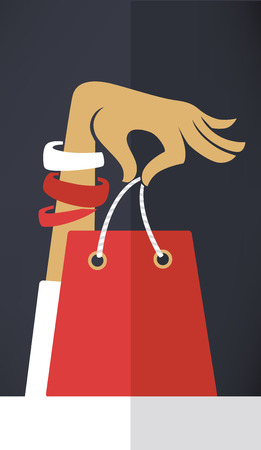 vector commercial background with image of hand and shopping bags in flat style Vettoriali