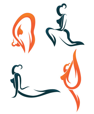 flexible woman: vector collection of sportive signs and symbols
