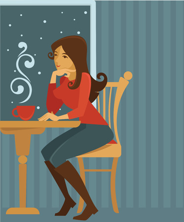 vector background with image of girl in small winter cafe Vector