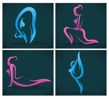 body slim: vector collection of emblem on dark background Illustration