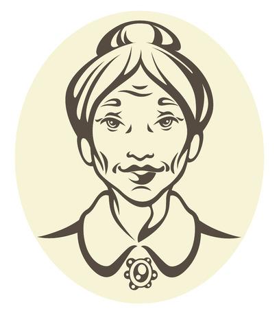 middle aged couple: old woman portrait Illustration