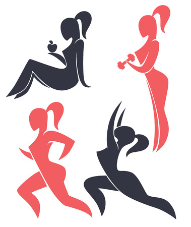 flexible woman: vector woman silhouettes