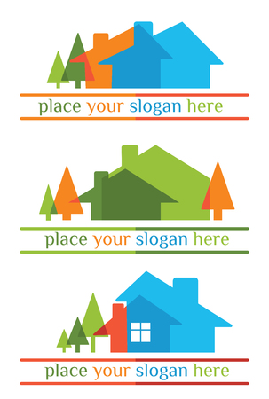eco building: vector icons, symbol and emblems collection Illustration