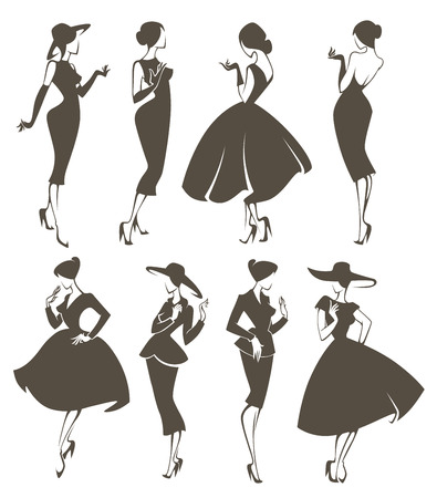 large vector collection of girls in retro style Illustration