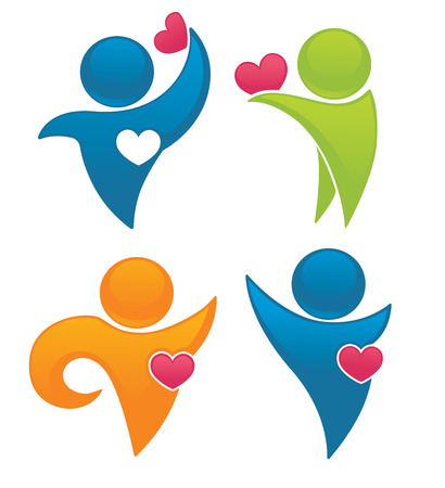 vector collection of health, hearts, people symbols and icons Vector