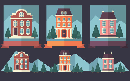 vector cartoon european homes in flat style, icons collection Vector