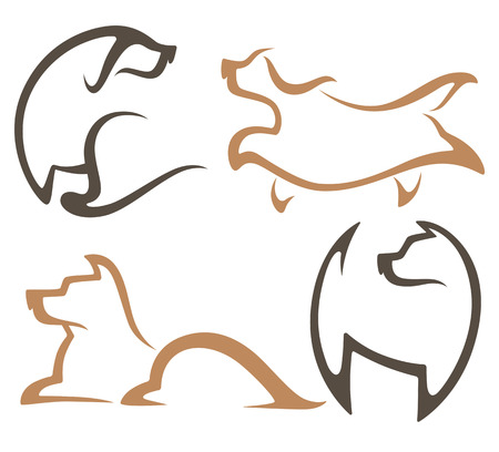flat nose: vector collection of dogs symbols