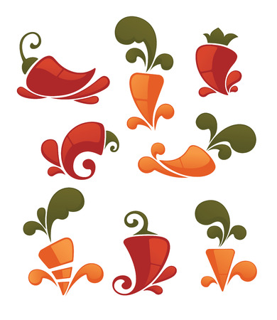 chilli pepper: vector vegetables symbols and icons