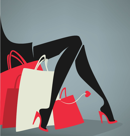 body woman: vector shopping and fashion background