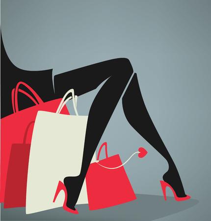 vector winkelen en mode achtergrond Stock Illustratie