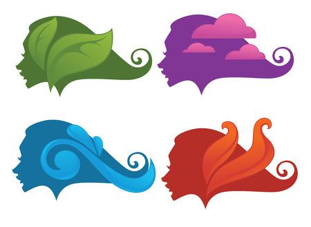 elements of nature: nature symbols decorative elements Illustration
