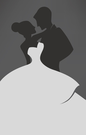 wedding couple silhouette: wedding card in elegant style