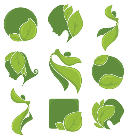 perfil de mujer rostro: vector colección ecológica Vectores
