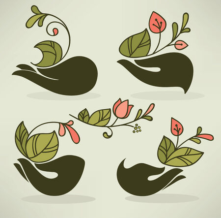 hand drown: vector floral illustration in naive hand drown style