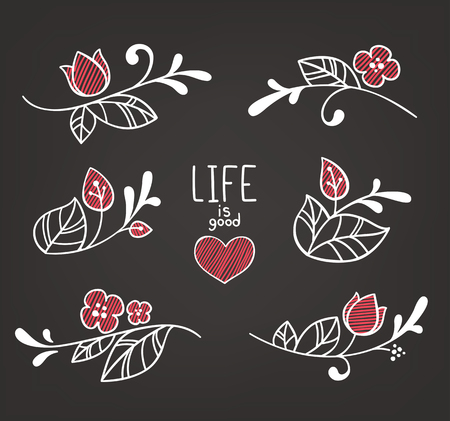 hand drown: vector floral elements in naive hand drown style on dark background