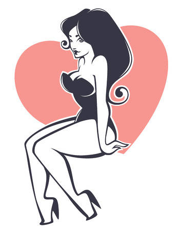 oversize: vector image of attractive oversize pinup girl Illustration