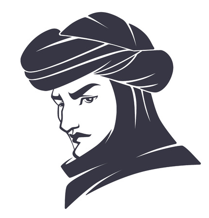 portret: vector arabian man portrait Illustration