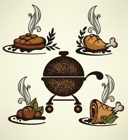 vector grill food Vector