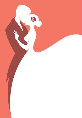 mujer con rosas: tarjeta de boda de vectores
