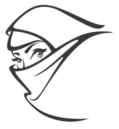 femmes muslim: vecteur arabian portrait