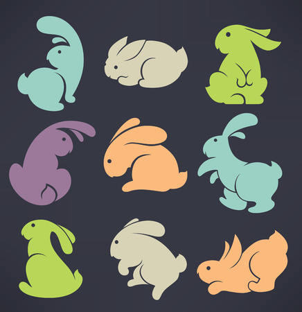rabbits: easter rabbit collection on dark background