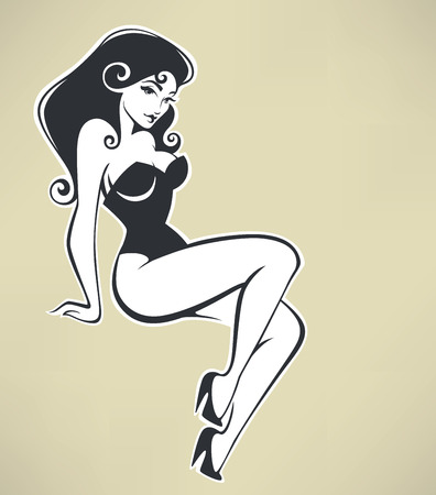 cartoon underwear: vector pinup woman