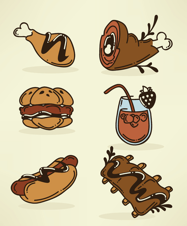 barbecue ribs: food images in doodle style Illustration