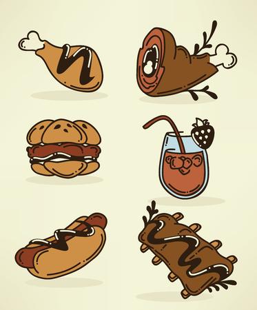 pork rib: food images in doodle style Illustration