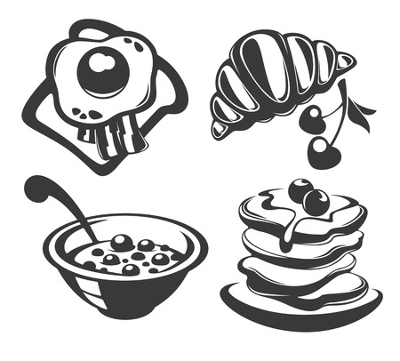 good morning, collection of traditional breakfast meal Vector