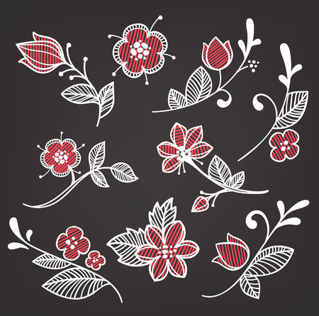 naive: floral elements in naive hand drown style on dark background