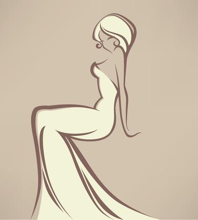 vestido de noche: boda ilustración vectorial