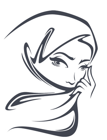 femmes muslim: portret vecteur de la belle femme arabe Illustration