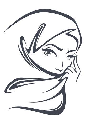 niñas: vector retrato de la hermosa mujer árabe