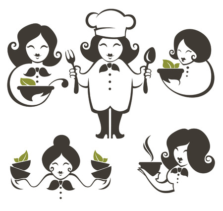 cooking chef: cooking symbols, food and cartoon woman chief silhouettes, vector collection emblems for your menu