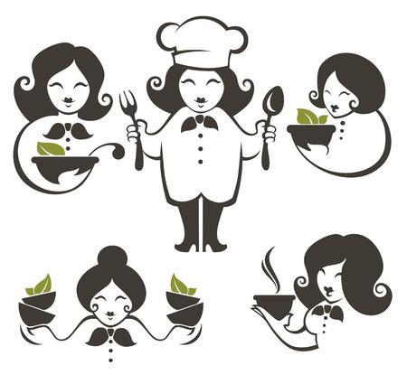 chef caricatura: símbolos cocinar, comida y mujer de dibujos animados siluetas principales, emblemas vector de recogida para su menú