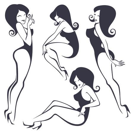 様々 なポージングに様式化されたピンナップ女の子のコレクション  イラスト・ベクター素材
