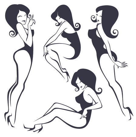 collection of stylized pinup girls in different poses