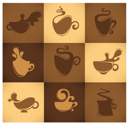 coffee and tea, cups collection Vector