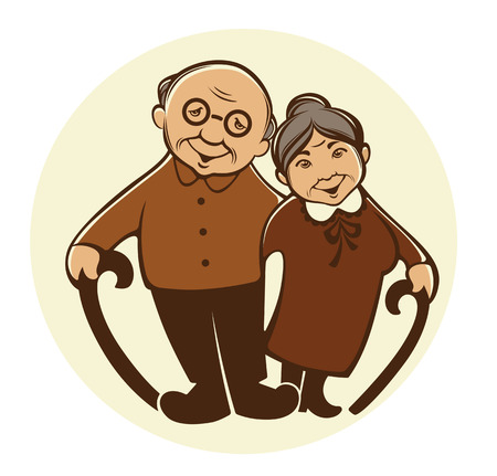 vector image of happy old people in cartoon style