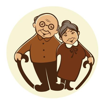 漫画のスタイルで幸せな年寄りのベクトル画像  イラスト・ベクター素材