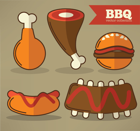 steak plate: vector barbecue collection in flat style Illustration