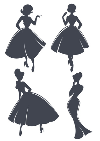 new look: new look girls, vector collection of girls in retro style Illustration